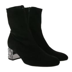 Gabor Gabor Stiefelette außergewöhnlicher Damen Ausgeh-Schuh in Veloursleder-Optik Herbst-Stiefel Schwarz Stiefelette