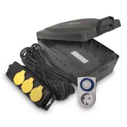 Outdoor Elektro-Box XXL mit Steckdosenleiste und Zeitschaltuhr