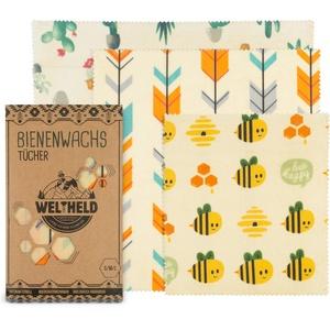 Weltheld Bienenwachstücher | Bienenwachstuch Zacken | Beewax Wrap | Bio Wachspapier | plastikfrei | Ersatz für Frischhaltefolie