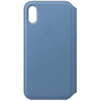 Apple iPhone XS Leder Folio Case kornblume