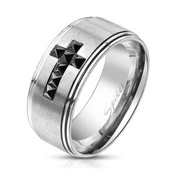 BUNGSA Fingerring Ring schwarzes Kristallkreuz aus Edelstahl Herren