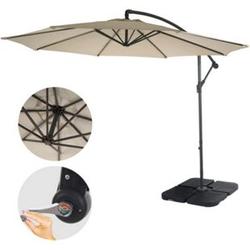 Ampelschirm Terni, Sonnenschirm Sonnenschutz, Ø 3m neigbar, Polyester/Stahl 11kg ~ creme mit Ständer