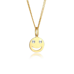 Elli Kette mit Anhänger Smiley Face Emoji Kristalle 925 Silber, Smiley goldfarben