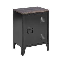 Bout de Canapé Table de chevet Table de nuit en métal - Noir et Marron bois - L 30 x P 40 cm x H 57