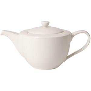 Villeroy und Boch For Me Teekanne, Weiße Porzellankanne mit Henkel und Deckel aus Premium Porzellan, spülmaschinengeeignet, 1300 ml