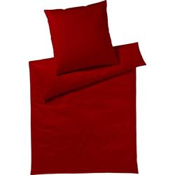 Bettwäsche Pure & Simple Uni, Yes for Bed, aus hochwertigem Mako-Satin rot 1 St. x 155 cm x 200 cm