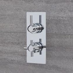 1-Weg Thermostat-Duscharmatur Chrom Unterputz Runde Griffe - Tec