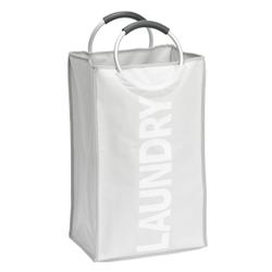 WENKO Stone Wäschesammler, Wäschekorb, 44 l, Flexibler Wäschekorb mit Softgrip Tragegriffen, Maße: 34 x 54 x 24 cm, Farbe: grau