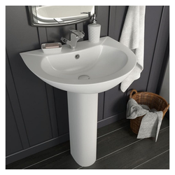 vidaXL Waschbecken vidaXL Freistehendes Waschbecken mit Säule Keramik Weiß 520x440x190 mm