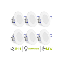 linovum LED Einbaustrahler 6er Set WEEVO extra flache LED Einbaustrahler 2700K 6,5W 230V für Bad & Außen IP44