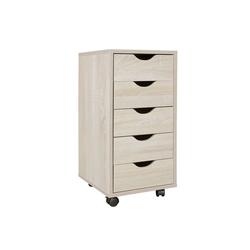 Wohnling Rollcontainer WL5.174, Rollcontainer MINA 33 x 64 x 38 cm MDF-Holz 5 Schubladen sonoma Moderner Schubladencontainer mit Rollen Standcontainer Bürocontainer