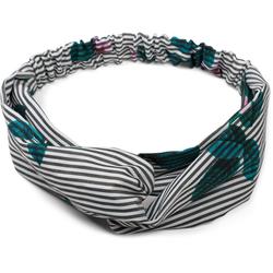 styleBREAKER Haarband Streifen Haarband mit Twist Knoten und Blumen, 1-tlg., Streifen Haarband mit Twist Knoten und Blumen