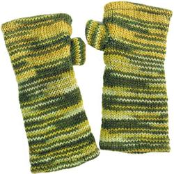 Guru-Shop Armstulpen Handstulpen, hangestrickte Wollstulpen aus.. gelb