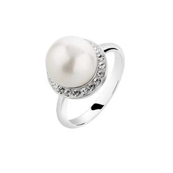 Nenalina Nenalina Ring Muschelkern-Perle Kristalle 925 Silber