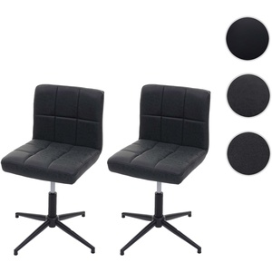 2x Esszimmerstuhl Kavala II, Stuhl Küchenstuhl, höhenverstellbar Drehmechanismus ~ Kunstleder dunkel