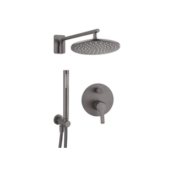 Deante Duscharmatur ARNIKA-30 Duschsystem Unterputz mit Regendusche und Armatur titanium, B/H/T: 25/130/21 cm