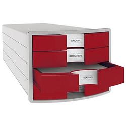 HAN Schubladenbox Impuls rot DIN C4 mit 4 Schubladen