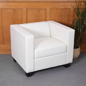 Sessel Loungesessel Lille ~ Kunstleder, weiß