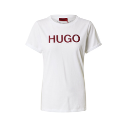 HUGO Damen T-Shirt weiß / weinrot, Größe XS, 4875372