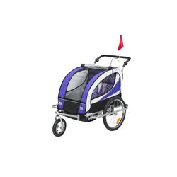 HOMCOM Fahrradkinderanhänger 2 in 1 Kinderanhänger für 2 Kinder