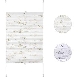 Plissee, Woltu, Faltrollo Klemmfix ohne Bohren beige 115 cm x 130 cm