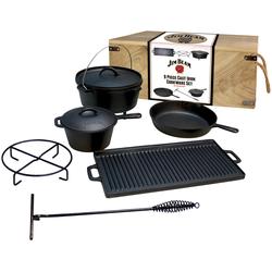Jim Beam BBQ Topf-Set, Gusseisen, (9 tlg.) schwarz Topfsets Töpfe Haushaltswaren Topf-Set
