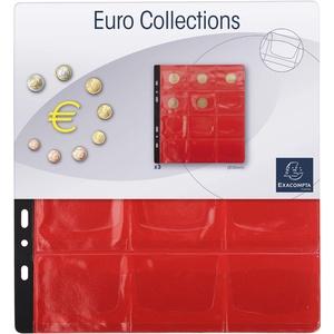 Exacompta 96001E 3er Pack Münzenhüllen für jeweils 12 Münzen in 50 mm, inklusive 3 rote Register, passend zum Münzalbum Numismatik