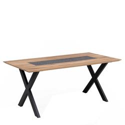 Designer Esstisch aus Wildeiche Massivholz und Metall Granitstein Furnier