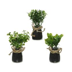 Kunstpflanze, Decoris season decorations, Kunstpflanze im Glas Topf 13cm, 1 Stück sortiert
