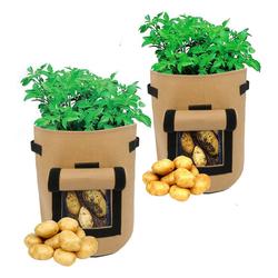 TOPMELON Pflanzkübel Gartenpflanzen im Freien wachsen Taschen (2 Stück), 300 * 350mm / 11.81 * 13.78in braun