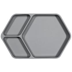 Kindsgut Kindergeschirr-Set Teller eckig (1-tlg), Silikon, Saug-Geschirr aus Silikon, guter Halt und rutschfest dank Saugnapf, frei von BPA und FDA-konform, Dunkelgrau grau
