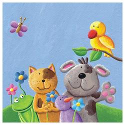 Linoows Papierserviette 20 Servietten für Kinder Feiern, Beste Tier Freund, Motiv für Kinder Feiern, Beste Tier Freunde