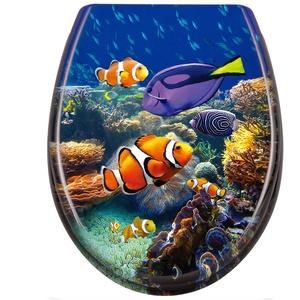 LARS360 Toilettendeckel WC Sitz mit Absenkautomatik Oval Toilettensitz Antibakteriell Klodeckel Klobrille aus Duroplast, Unterwasserwelt Muster WC Sitz, für Meisten Klodeckel Hänge WC Spülrandloses WC
