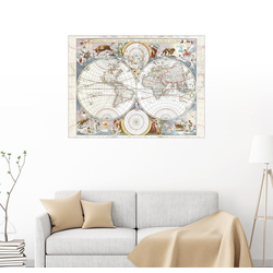 Posterlounge Wandbild, Novissima totius terrarum orbis tabula (17. Jh) 80 cm x 60 cm