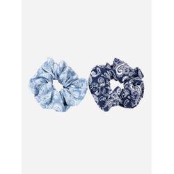 axy Zopfhalter XXL Scrunchie Haargummis Set, Doppelpack, 2-tlg., 2-Teiliges Scrunchies Haargummis Set, Zopfgummi Haarteil Haarband blau