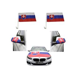 Sonia Originelli Fahne Auto Fan-Paket Haubenfahne Fensterfahnen Spiegelfahnen Magnetflaggen Slowakei Slovakia, Fanartikel für das Auto in Slowakei-Farben Fanset-10XL