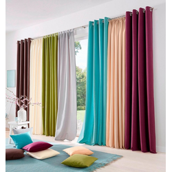 Vorhang Raja, my home, Ösen (2 Stück), Gardine, Fertiggardine, blickdicht grün 140 cm x 175 cm