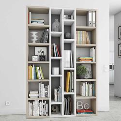 Wohnzimmerregal für Bücher Beige und Weiß