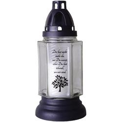HS Candle Grabkerze (1-tlg), 6eck mit Motiv und Spruch, Grablicht Grabschmuck Grablaterne weiß