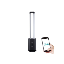 Djive Ventilatorkombigerät Flowmate Tower one, Ventilator mit App & Alexa Steuerung, Luftreiniger mit HEPA 12 Filter, ca. 105cm hoch, rotorloser Turmventilator mit Fernbedienung, 80° Oszillation, LED Display, 35W schwarz