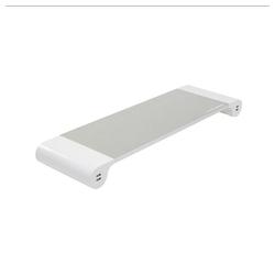 Terratec Spacebar Monitor-Halterung, (Monitor Stand mit 4 USB Ladeports / Ladestation, Aluminium, Monitorständer, Monitorerhöhung, Monitor-Ständer, weiß/grau)