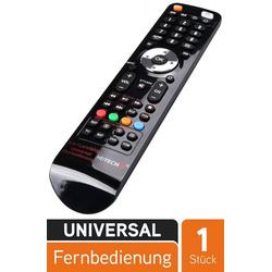 HEITECH Universal Fernbedienung für 4 Geräte - 4in1 lernfähige Unversalfernbedienung für Smart TV, DVD, SAT, AV Receiver uvm - Multifunktionsfernbedienung mit Lernfunktion & für alle Marken Universal-Fernbedienung