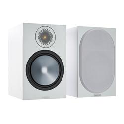 MONITOR AUDIO Bronze 100 (6G) Kompaktlautsprecher weiß/grau Regal-Lautsprecher (100 W, Kompaktlautsprecher, 1 Paar, inklusive abnehmbarer Lautsprecherabdeckung)