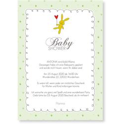 Babyshower Karten (10 Karten) selbst gestalten, Babyshower Häschen - Grün - Weiß