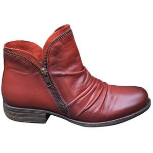 ORANDESIGNE Stiefeletten Damen Flach Spitze Stiefel Kurzstiefel mit Reissverschluss Ankle Boots Frauen Wildleder Schuhe Damenschuhe Mode Elegant Halbstiefel Rot 37 EU