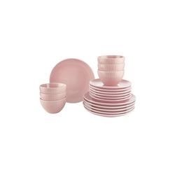 BUTLERS Schale HANAMI Geschirr-Set 18-tlg. Streifen rosa, Steinzeug