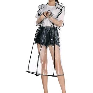 Merkisa Frauen Transparente Regenmantel mit Lange Kapuzen, Wiederverwendbare wasserdichte leicht atmungsaktiv Regenjacke für Damen, Größe 36 bis 42, Perfekt für Wandern und Camping Regen