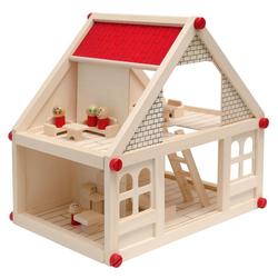 eyepower Puppenhaus 2-stöckiges Puppenhaus mit passenden Möbeln, Puppenstube Naturholz 11 Möbel