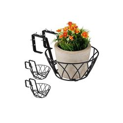 relaxdays Blumenkasten Blumentopfhalter Balkon 3er Set 34.5 cm x 16 cm x 25 cm