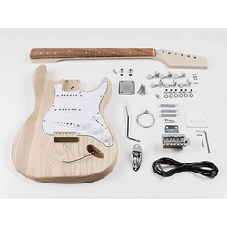 Boston Gitarrenset DIY E-Gitarren-Bausatz, mit hochwertigem Esche Korpus